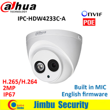 Dahua H.265 2MP IP Camera IPC-HDW4233C-A Full HD 1080P Network CCTV Camera IR Support POE and Onvif built in mic DH-IPC-HDW4233C