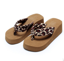 Summer Women Platform Wedge Flip Flops Leopard Sandal