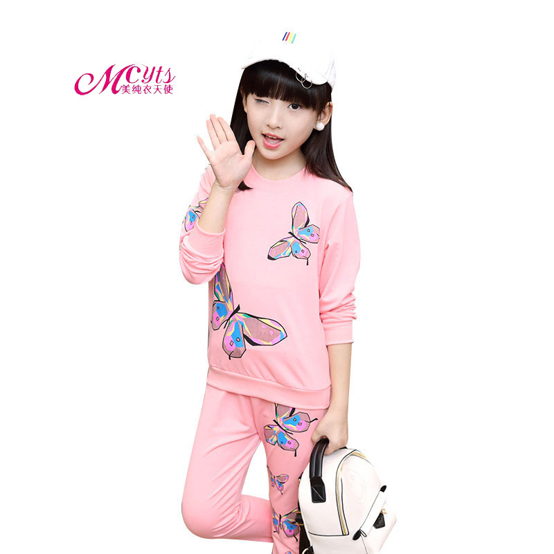 2018 Spring Autumn Children Girls Tracksuit Kids Clothing Sets Long Sleeve Print Butterfly Girls Sports Suits 4 6 8 10 12 Years