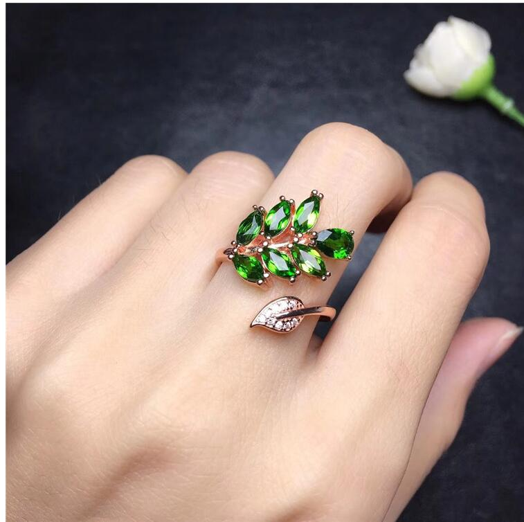 Natural Diopside ring Free shipping Natural green diopside 925 sterling silver Fine jewelry ring For men or women 3*6mm 7pcsNatural Diopside ring Free shipping Natural green diopside 925 sterling silver Fine jewelry ring For men or women 3*6mm 7pcs