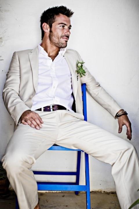 New Arrival Summer Linen Men font b Suit b font For Beach Wedding Slim Fit One