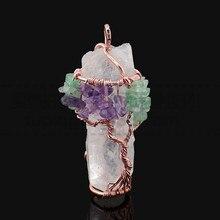 Sedmart ручной работы зеленый авантюрин фиолетовый кристалл дерево жизни Ожерелье Длинная цепочка нерегулярные Природный камень женщины ожерелье