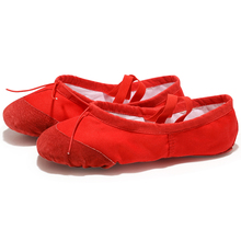 USHINE EU22-45 Leather Head Yoga Slippers Teacher Gym Indoor Exercise Canvas Red Ballet Dance Shoes For Kids Girls Woman