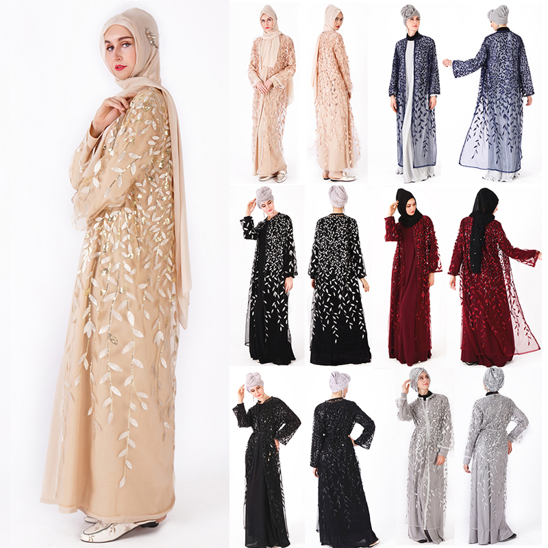 2019 maille Sequin Caftan Abaya turquie femmes dubaï Cardigan robe musulmane Ramadan Abayas femmes Caftan Marocain vêtements islamiques