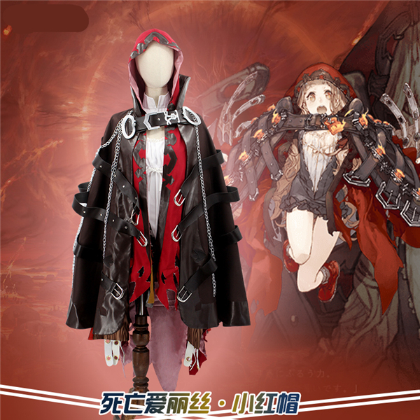 Japan Anime Hot Game SINoALICE Red Riding Hood Cosplay Costume shirt+red mantle+brown cloak+Free Shipping G