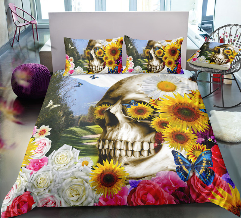 FANAIJIA 3d Flower Skull Bedding Sets Skull Duvet Cover With Pillowcases Bed Sets Queen Size Comforter Sets  Microfiber Fabric