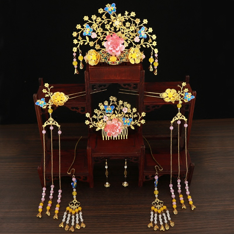 Luxury Chinese Bridal Golden Costume Headdress Vintage Hairpin Ornament Jewelry Hair Accessories 1