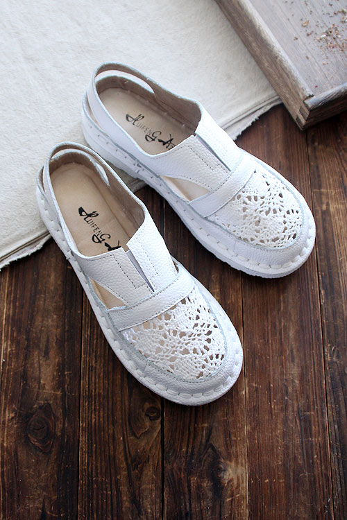 HUIFENGAZURRCS Hot 2019 summer new pure handemade genuine leather leisure shoes flat bottom breathable mesh shoes 3 colors in Women 39 s Flats from Shoes