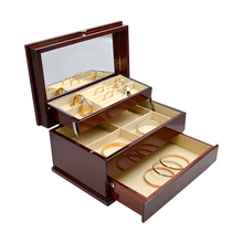 *Red Storage Box Multi-lattice Grid Box Solid Wood Lacquer Environmental Box folding cabinet three Floor Storag Collection Case