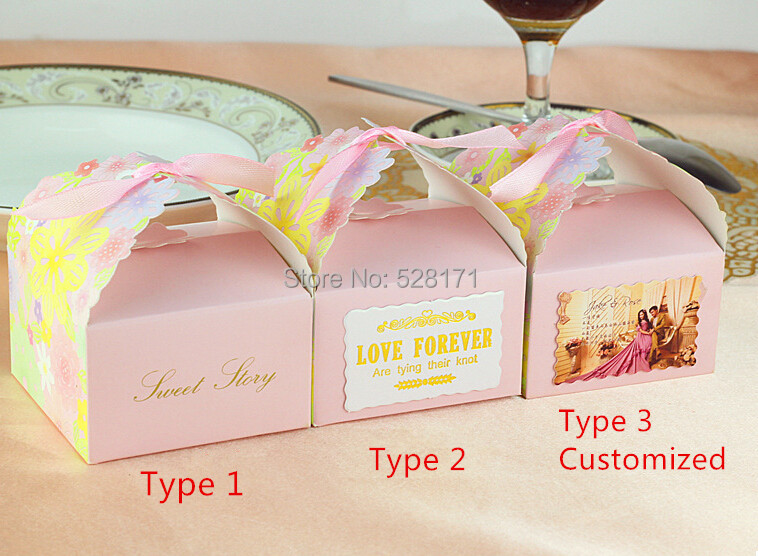 customized wedding favor gift boxes party favors floral candy boxes with ribbon casamento wedding boxes large