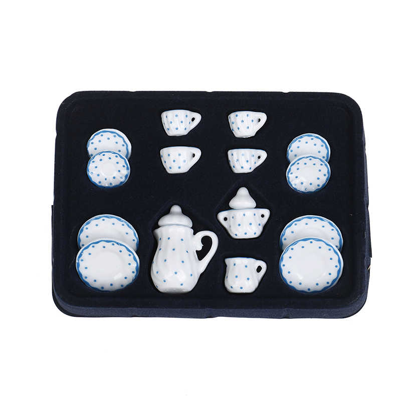 15Pcs 1/12 Dollhouse Miniature Blue Flower Patten Porcelain Coffee Tea Cups Ceramic Tableware Dollhouse Kitchen Accessories Hot