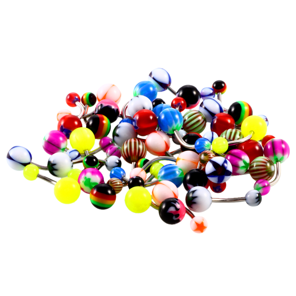 100pcs/lots 14G Acrylic Navel Ring Mixed Colors Navel Piercing Jewelry belly button Rings Piercing ombligo Body Jewelry Piercing