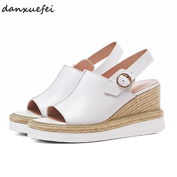 Women's genuine leather wedge platform sandals brand designer open toe slingback summer leisure comfortable sandalias shoes sale