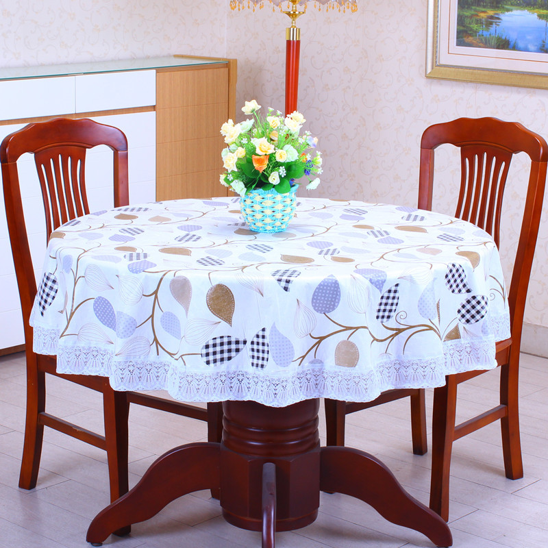 2016New PVC Plastic Plus Velvet Thickened Round Tablecloths Waterproof Oilproof No Clean Tablecover Pastoral Style Lace
