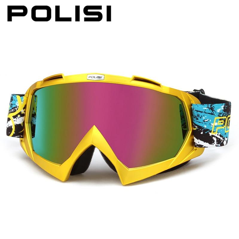 POLISI ветрозащитная Сноуборд Лыжный Очки Анти-туман Мотокросс внедорожных горные очки Мотоцикл Байк очки