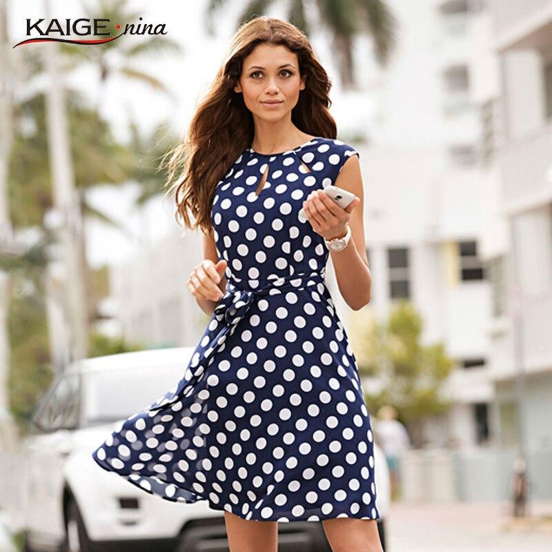 Kaigenina nuevas mujeres casual dress o-cuello sin mangas de corte bajo dress po