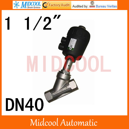 High quality  Pneumatic Stainless steel Angle seat valve port 1 1/2 BSP two position, two way DN40 free shipping 1 2 inch port pneumatic angle seat piston valve dn15 2 way stainless steel