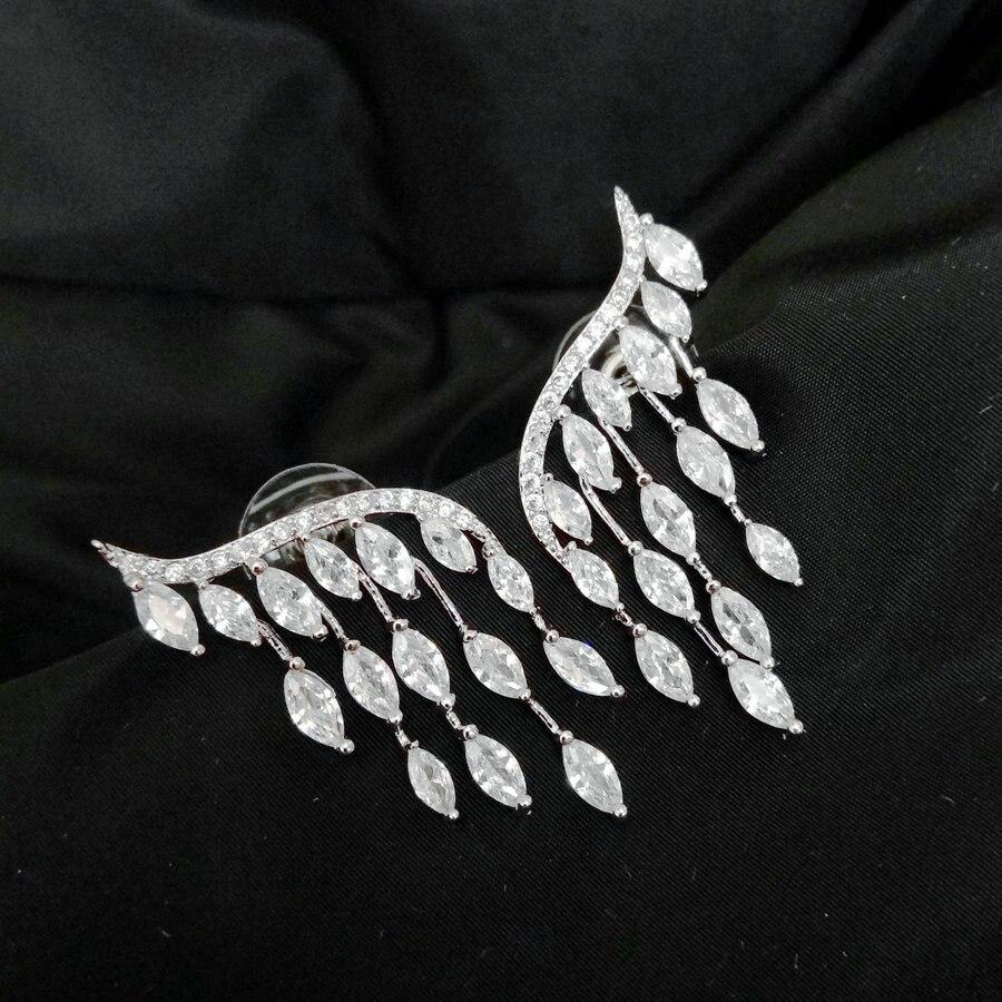 SINZRY clear white Cubic zircon tassel earrings brilliant horse eye elegant drop earrings for women