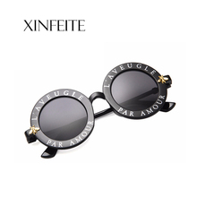Xinfeite Sun glasses Fashion Personality Letter Round frame UV400 Travel Summer