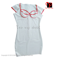 Whit with Red Sexy Latex Dress Rubber dress playsuit plus size XXXL QZ 092