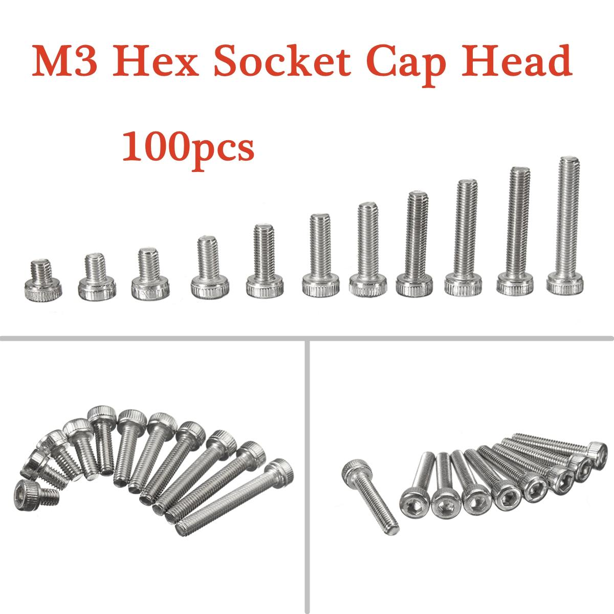 Mtgather 100pcs Pack 304 Stainless Steel M3 Hex Socket Cap