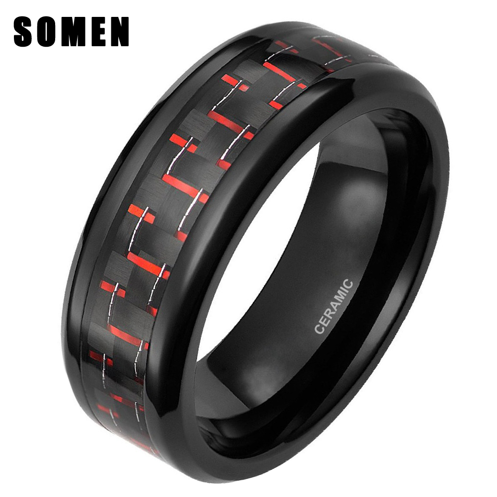8mm Keramik Cincin Hitam & Merah Carbon Fiber Inlay Engagement Wedding Band Indah Fashion Jewelry Cincin Wanita Pria Mode cincin