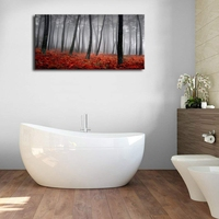 Canvas Wall Art Forest Mist with Red Trees Black and White Woods Scenery Painting Nature Picture for Home Office Wall Decor Gift