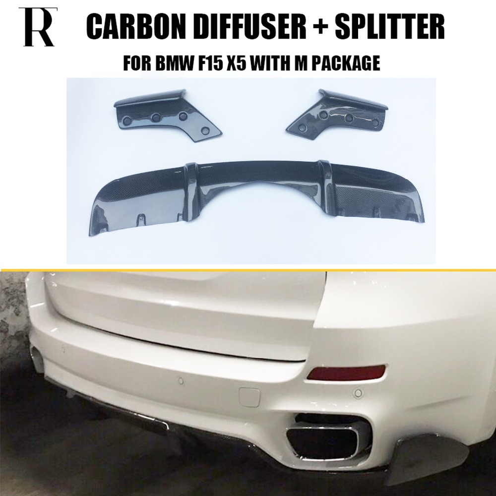F15 X5 Carbon Fiber Rear Bumper Diffuser with Splitter Apron for BMW F15 X5 M-tech M-sport Bumper Only 2014 UP 2007 bmw x5 spoiler