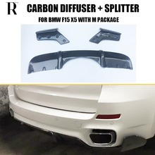 F15 X5 Carbon Fiber Rear Bumper Diffuser with Splitter Apron for BMW F15 X5 M-tech M-sport Bumper Only 2014 UP цена и фото