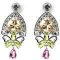 Created Champagne Topaz, Peridot, Pink Tourmaline, White CZ SheCrown  Silver Stud Earrings 33x15mm