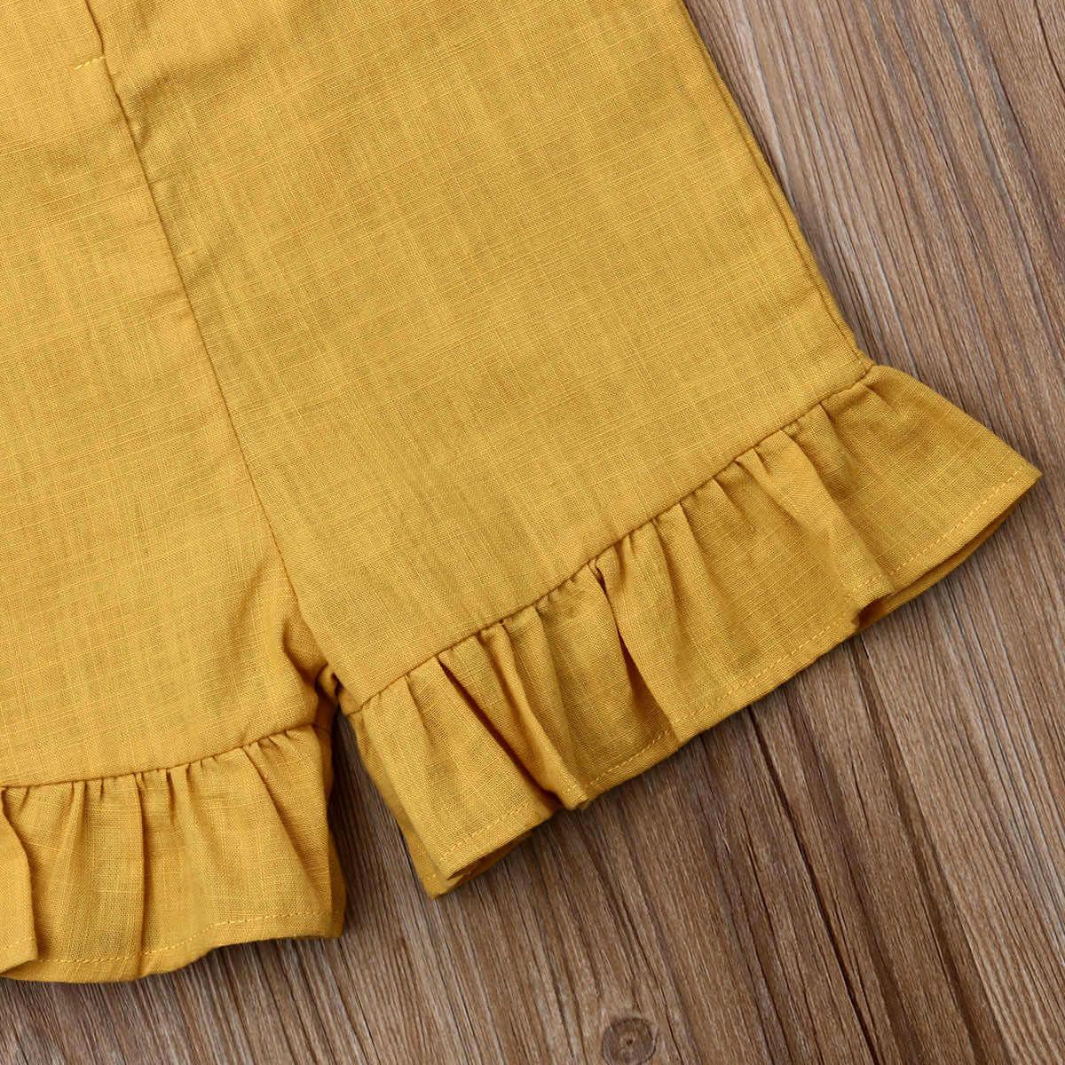 2019 베이비 여름 의류 키즈 베이비 걸 스트랩 romper clothes ruffle 민소매 벨트 솔리드 원피스 bib overalls outfits 1-6y