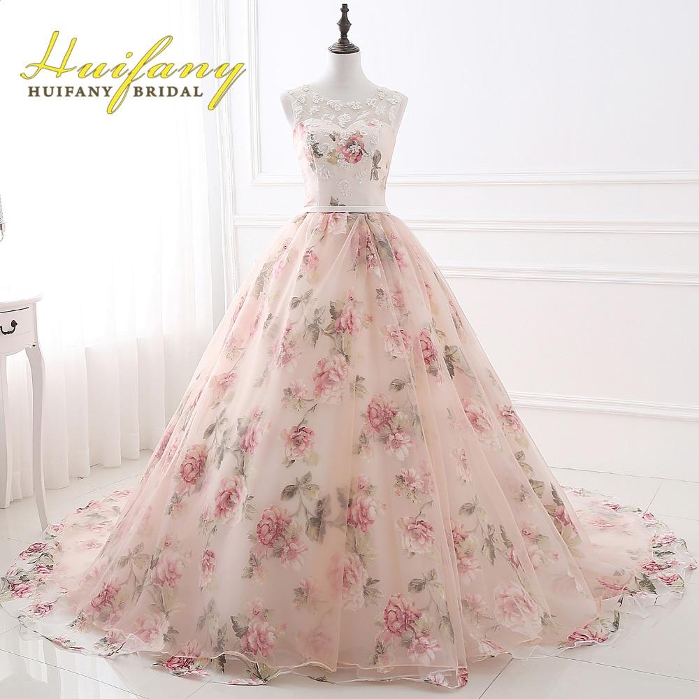 Huifany Organza Estampado de Flores vestido de Bola de Vestidos de ...