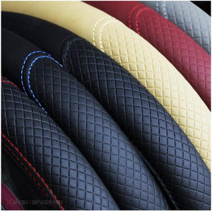 Image 5 - Fashion 6 Colors Car Steering Wheel Cover Volant Artificial Leather Braid on the Steering wheel Funda Volante Auto Car Styling