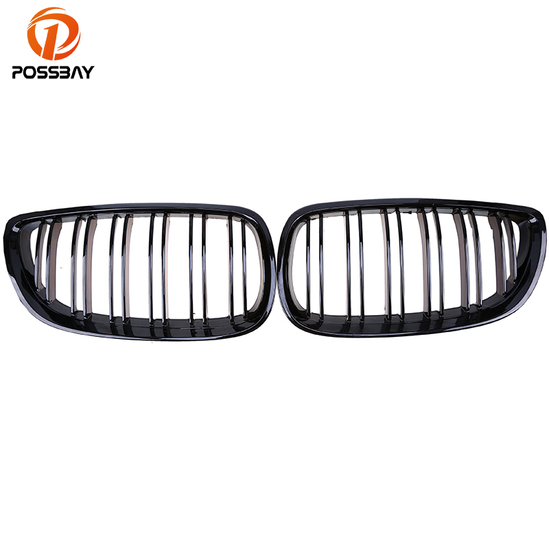 POSSBAY Car Front Center Double Slats Hood Grille Grills