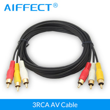 купить AIFFECT Gold Plated High quality 3 RCA to 3 RCA Male to Male Cable DVD Audio Video TV AV Cable 1.1M length дешево