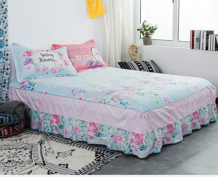 Flower Cotton Twin Full Queen Size Bed Skirt With Elastic Bandage Cover Bedspread