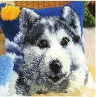 Carpet Embroidered Pillow Paragraphs Wool Crochet Hook Embroidery Cross Stitch Pillows Snow Wolf