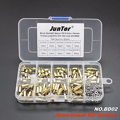 Hot selling 180pcs M2.5 Brass Standoff Spacer M2.5 Male x Female With Hex Nuts m2 3 3 1pcs brass standoff 3mm spacer standard male female brass standoffs metric thread column high quality 1 piece sale