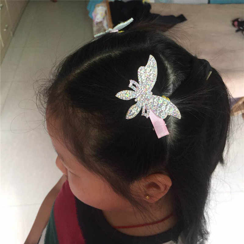 2pcs/lot Hot Sale Hair Clips Girls Butterfly Twinkling Hairpins Shiny Rhinestone For Lovely Children Hair Band Hair Accessories