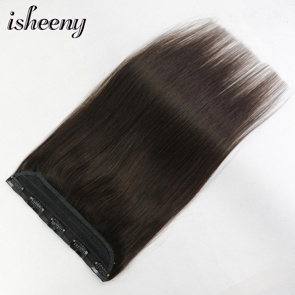 """Isheeny 14"""" 18"""" 22"""" 1pc Brazilian Hair Clips Tic Tac 5 Clips Remy Hair Piece Straight Clip In Human Hair Extension"""