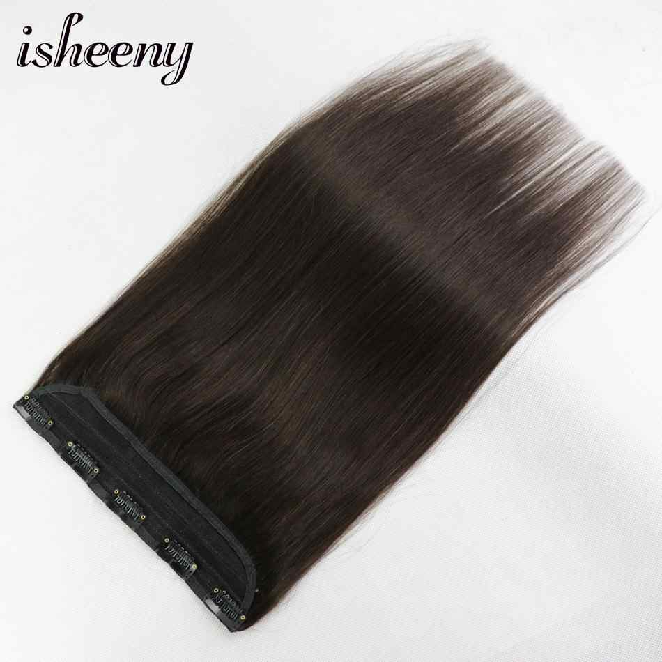 "Isheeny 14"" 18"" 22"" 1pc Brazilian Hair Clips Tic Tac 5 clips Remy Hair piece Straight Clip In Human Hair Extension"