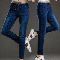 Wholesale Spring Autumn Women Jeans Stretch Skinny Pencil Pants Denim Black Bule Color Casual Plus Long