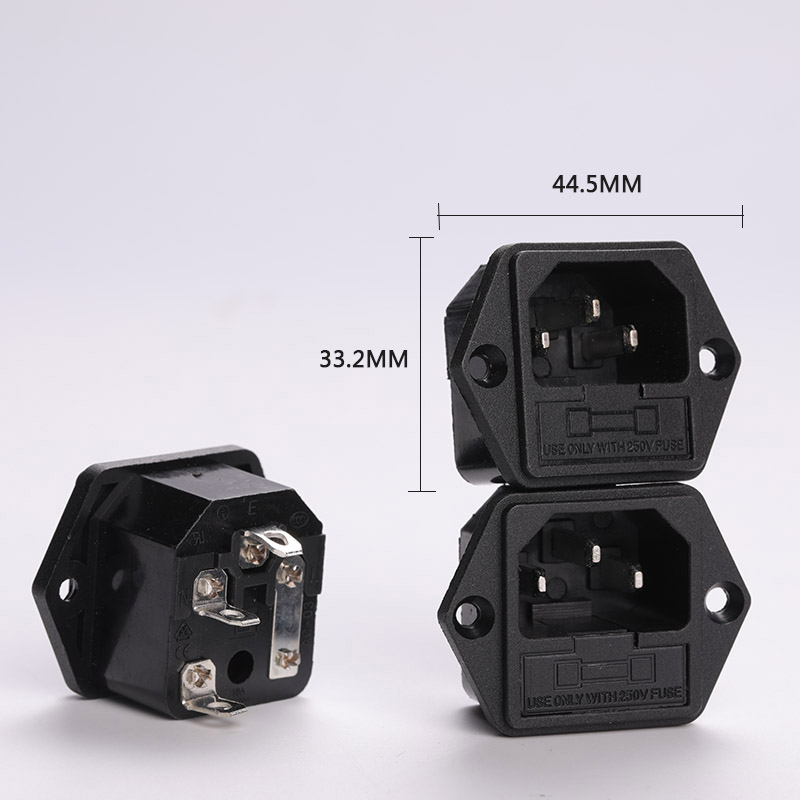 The Longest Side Of The Connector Is About 44 5mm Wide 33 2mm AC Power Socket High Power 15A 250V Flat Foot With Ear Connector in Connectors from Lights Lighting