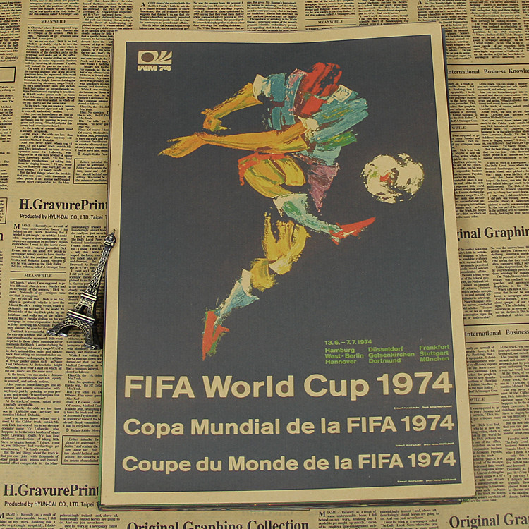 "Large Vintage ""West Germany <font><b>1974</b></font> <font><b>World</b></font> <font><b>Cup</b></font>"" Football Poster Home Decoration Wall Sticker Wall Chart Retro Matte Kraft Paper"
