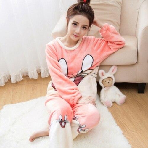 492d3054aa 2018 Autumn Winter Women Pajamas Set Sleep Jacket Pant Sleepwear Warm  Nightgown Female Cartoon Bear Animal Pants Sleepwear