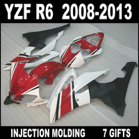Custom injection motorcycle parts for YAMAHA R6 2008 2013 fairing kit red white flat black fairings 08 09 10 11 12 13 YZF R6