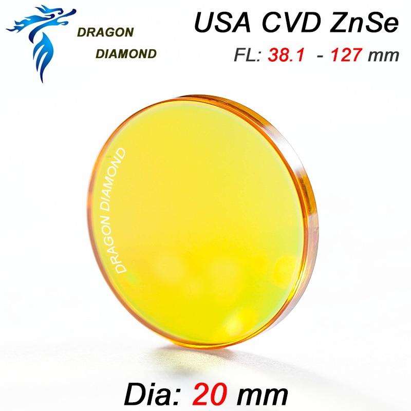 CO2 Laser USA CVD Focus Lens ZnSe Dia 20mm Focal Length 38.1mm 50.8mm 63.5mm 76.2mm 101.6mm 127mm For CO2 Laser Machine