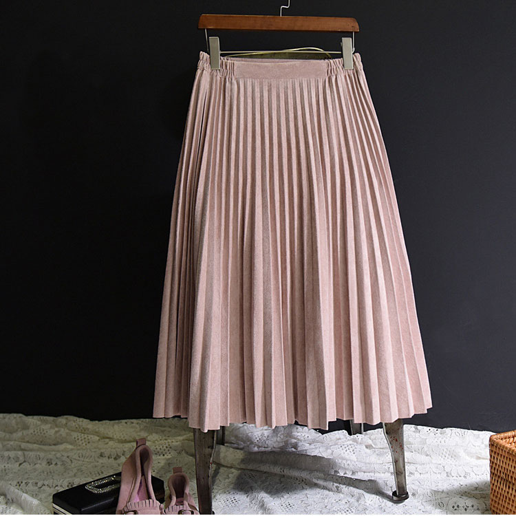 Image 4 - 2019 New Fashion Autumn Women Suede Skirt Pink White Long Pleated Skirts Womens Saias Midi Faldas Vintage Women Midi Skirt-in Skirts from Women's Clothing