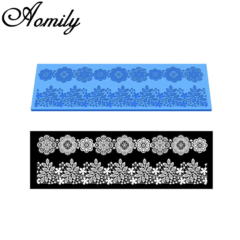Aomily 40x12.7cm Lace Flower Wedding Cake Silicone Beautiful Flower Lace Fondant Mold Mousse Sugar Craft Icing Mat Pastry Tool
