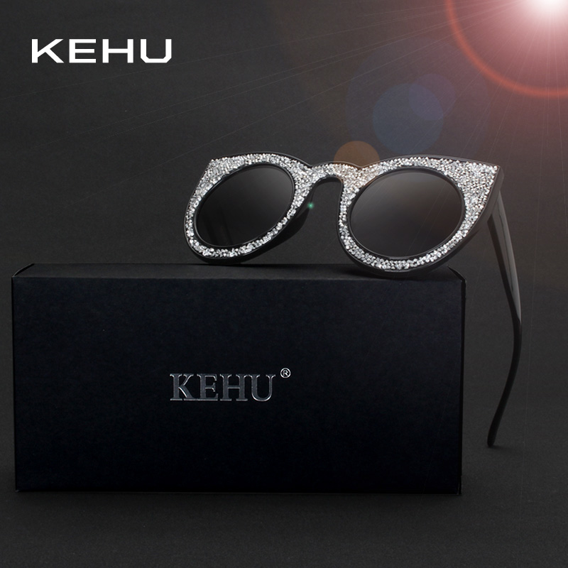 1946b54d8e2648 KEHU Mode Surdimensionné Cat Eye lunettes de Soleil Pour Femmes Acétate  Décorer Diamant Cadre Lunettes Femmes Marque Designer H1817